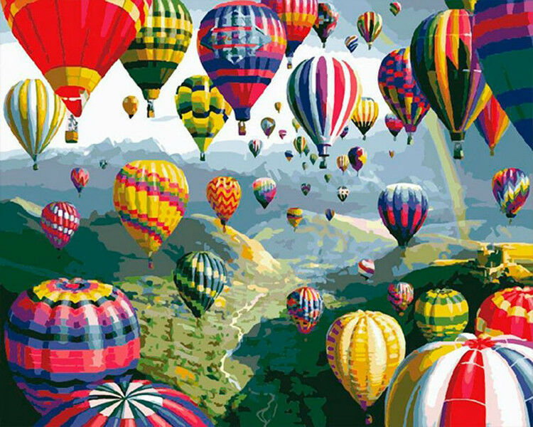 Details about Diy oil Painting Paint by Numbers Kits for Adult -Hot Air  Balloon