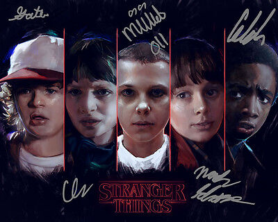Stranger Things Millie Bobby Brown Finn Wolfhard Signed Photo Autograph Reprint