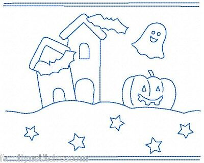 Bluework Halloween Borders 10 Machine Embroidery Designs in 3 sizes for 30 files (Halloween Borders)