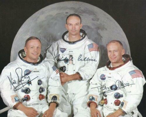 REPRINT  NEIL ARMSTRONG - ALDRIN - COLLINS Apollo 11 Astronaut Signed 8x10 Photo