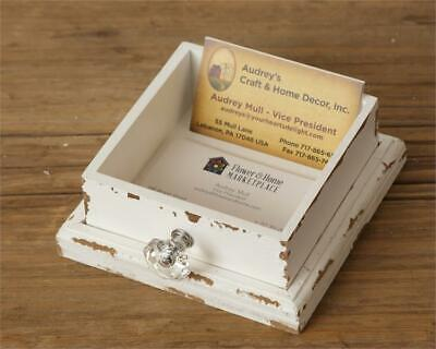 New Shabby Chic Rustic Farmhouse White Wooden Drawer Business Card Holder Box