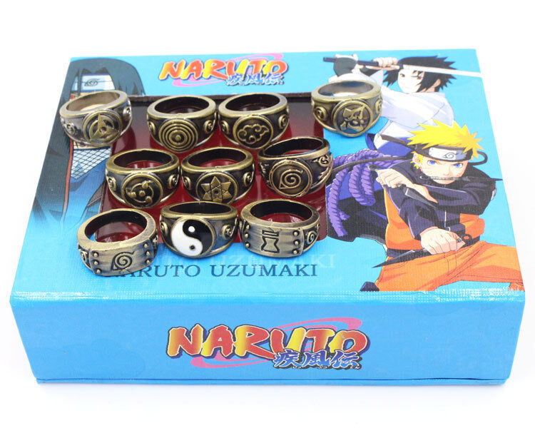 Naruto Akatsuki Sasuke Kakashi Members Sharingan Rings Set/10pcs New In Box