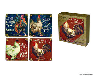 Chicken and Rooster Collection Stoneware Coasters, Set of 4, Ceramic, Cork - Cork Coasters Bulk