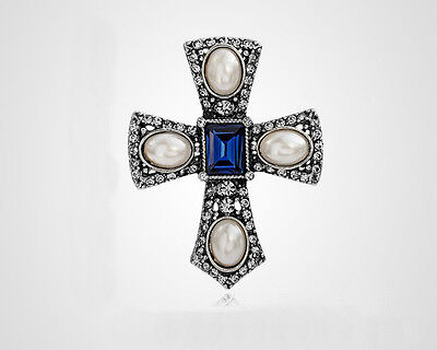 Xmas Gifts White Pearl Full Crystal Cross Crucifix Collar Brooch Pin ()
