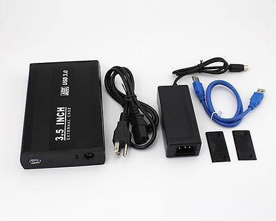 3.5 inch USB 3.0 Aluminum External SATA Hard Drive Enclosure Case Black NEW