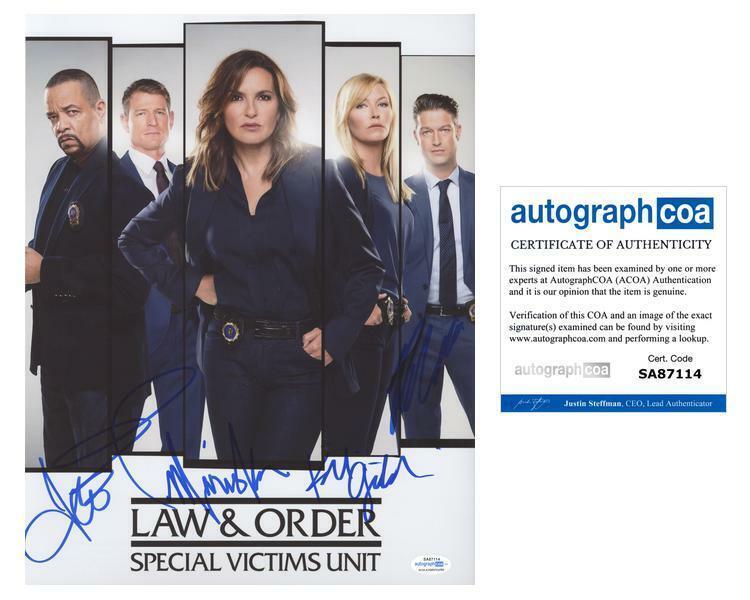 """Law & Order: SVU"" Cast AUTOGRAPHS Signed 11x14 Photo - Mariska Hargitay +3 ACOA"
