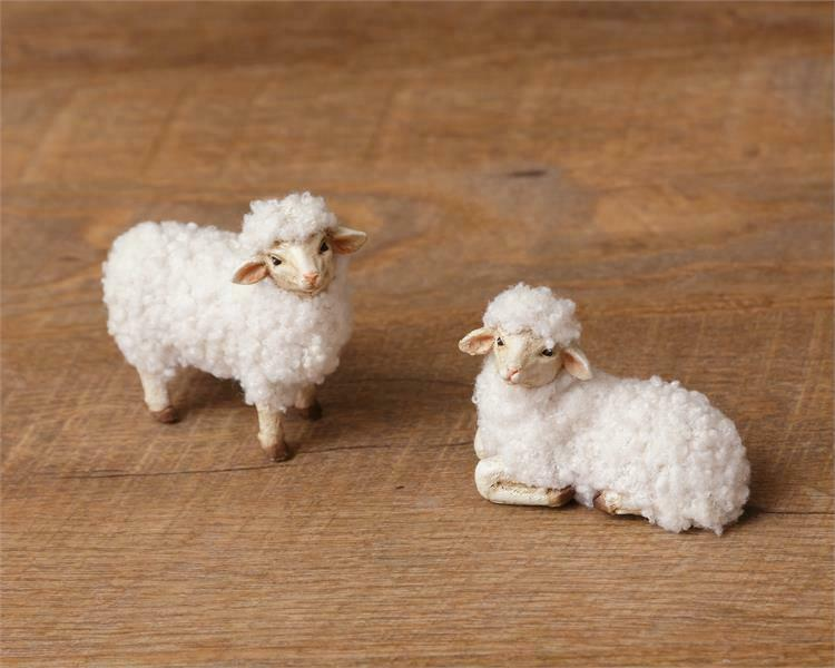 Set of 2 Wooly Sheep Figures