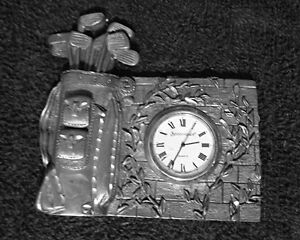 """""""SPOONTIQUES"""" GOLF CLUBS COLLECTIBLE PEWTER CLOCK"""