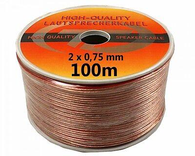 100 Metro Cable Altavoz 100m 2 x 0,75mm² Hifi Audio - Buena...