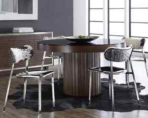 Designer Dining Table Round Wood and Glass