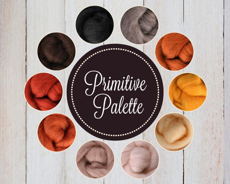 PRIMITIVE Color Palette Wool Roving Fiber 2.5ozs/70 grams Felting Spinning Soap