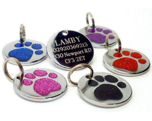 25mm-Glitter-Paw-Print-Dog-Pet-ID-Tag-Disc-Engraved-Free
