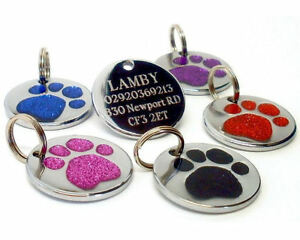 25mm-Glitter-Paw-Print-Dog-Pet-ID-Tag-Disc-Engraved-Free