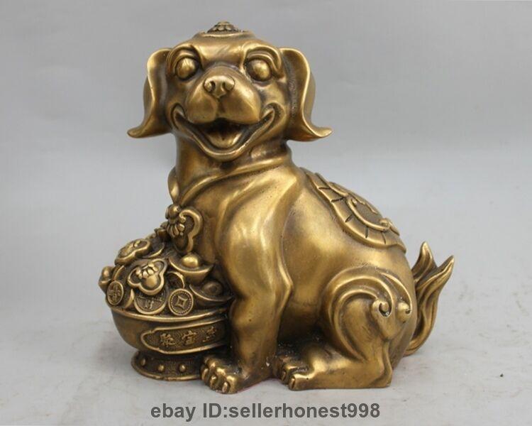 Chinese Copper Bronze Auspicious Twelve Zodiac Coin treasure bowl Dog Statue