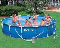 15ft Pool with pump, vacuum, Skimmer, chemicals and pool cover