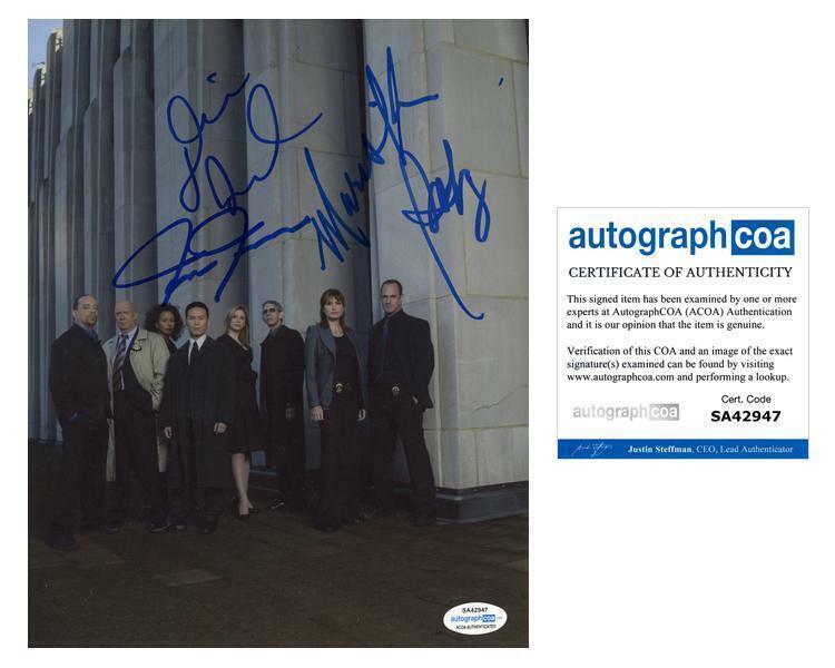 """Law & Order: SVU"" Cast AUTOGRAPH Signed 8x10 Photo - Mariska Hargitay +3 B ACOA"