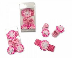 nursery time Baby Socks and Headband Set - Pink Flower lyester, 0-12months £4.50
