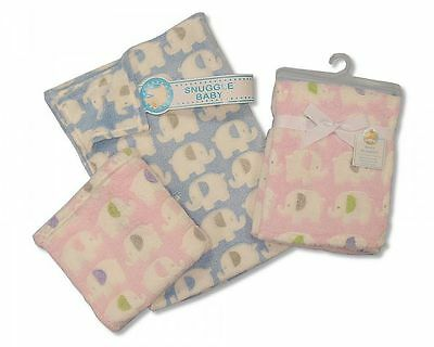 Baby Pram Blanket Super Soft Fleece 75 x 100 Pink Elephants