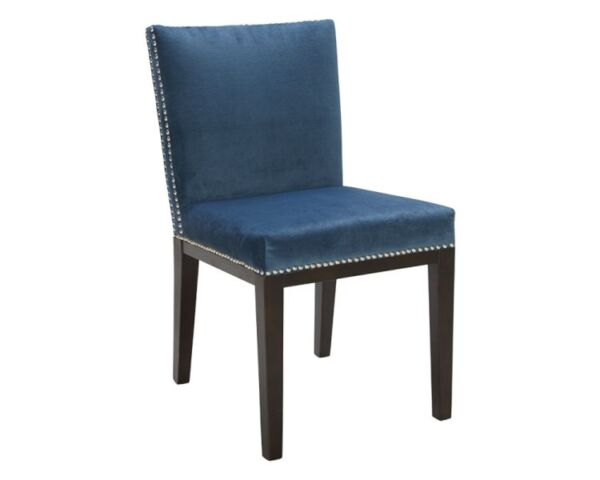 dining room kitchen chair in blue fabric with nailheads chairs