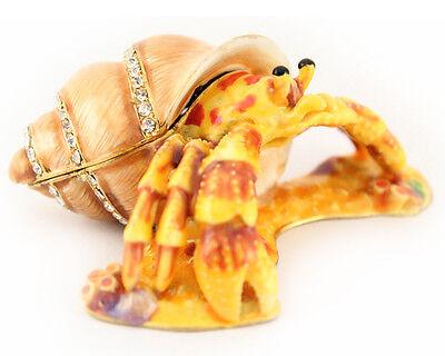 Hermit Crab Jewelry Trinket Box Collectible Enamel Ocean Decoration Sea -