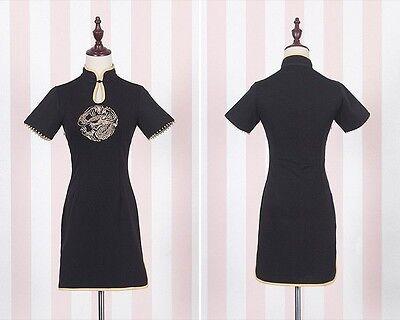 1pc Slim Chinese Cheongsam Qipao Retro Lolita Elegance Lady Dragon Pattern Dress ()