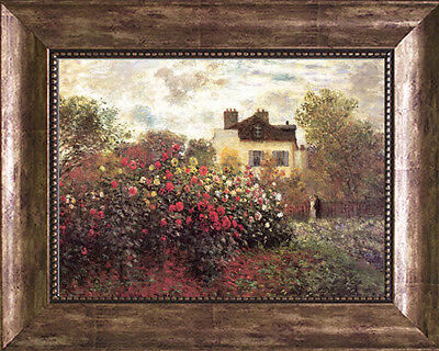 Monet GARDEN ARGENTEUIL Coffee Bean Frame Stretched Canvas Giclee Repro 21 x 17