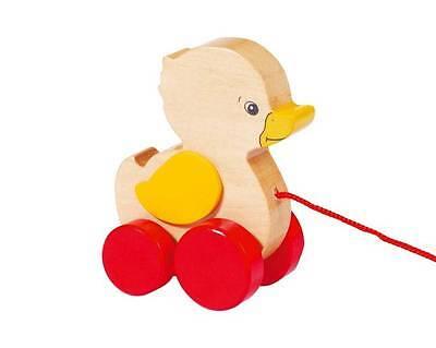 Nachziehtier Ente Ellah goki aus Holz Spielzeug Nachziehspielzeug Ziehtier Neu