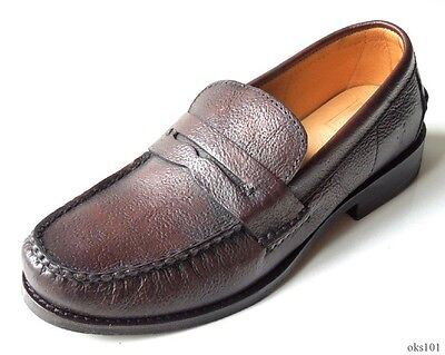 NIB mens FRYE 'Douglas' Penny Hammered dark brown leather loafers shoes - (Best Mens Penny Loafers)