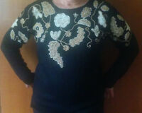 Vintage embroidered evening sweater (used) - size M