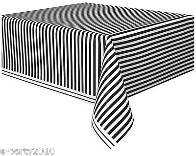 BLACK AND WHITE STRIPES PLASTIC TABLE COVER ~ Wedding Birthday Party Supplies](Birthday Black And White)