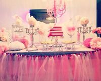 Beautiful dessert table/candy bar or sweets table decor rental