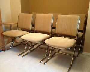 Set Of 6 Cool Retro Gold Velvet VELTONE Dining Chairs MetalFrame Chairs Re