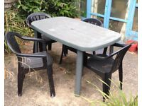GARDEN TABLE & 4 CHAIRS green plastic