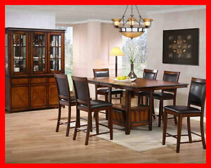 Rustic Oak Finish Pub Height Dinette Set @ Yvonne's Furniture