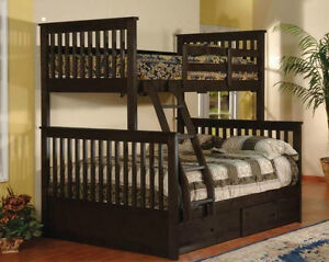 BRAND NEW REAL SOLID WOOD SINGLE OVER DOUBLE BUNK BED Kitchener / Waterloo Kitchener Area image 1
