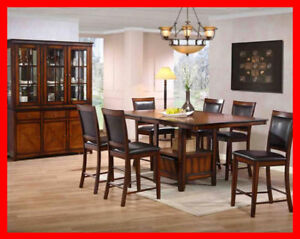 Rustic Oak Finish Pub Height Dinette Set Yvonnes Furniture