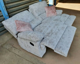 Ex Display Chenille 3 seater Recliner sofa - Silver.