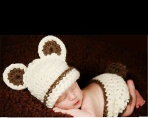 Soft Knit Bear Baby Costume Photo Prop. 0-12 months size