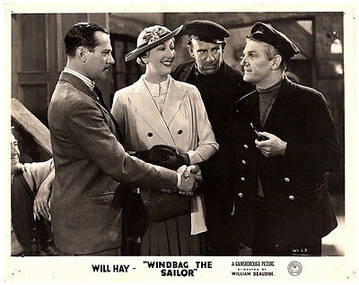 WINDBAG THE SAILOR ORIGINAL BRITISH FRONT HOUSE LOBBY CARD WILL HAY NORMA - Sailor Hay