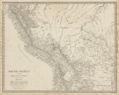 PERU, BOLIVIA & part of Brazil. Indian tribes. Bolivian Litoral. SDUK 1844 map