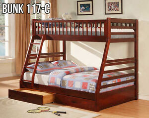 Single over Double Bunk Beds (117) FREE STORAGE DRAWERS!