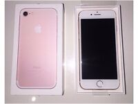 NEW IPHONE 7 32GB ROSE GOLD, BRAND NEW BOXED, FULL WARRANTY,PERFECT