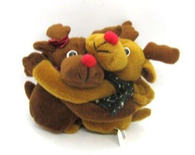 (Plushland Hugging Moose Christmas Holiday Plush Beanbag Pair of 2 Stuffed )