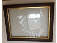 Antique oak picture frame with gold slip