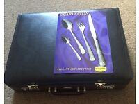 Prima 72 piece cutlery set in leather case