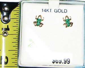 Tinkerbell Collection - 14KT Gold Frog Stud Earrings - NEW $70+ London Ontario image 1