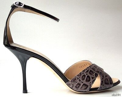 new $590 Giuseppe ZANOTTI black croco open-toe ankle strap heels shoes 39 US 9