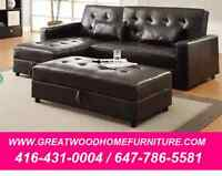***  SECTIONAL SOFA BED WITH STORAGE OTTOMAN...$699 ***