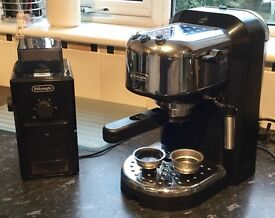 DeLonhi coffee maker and bean grinder