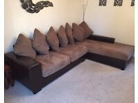 Brown L-shape corner sofa couch ex land of leather fabric mix suite settee
